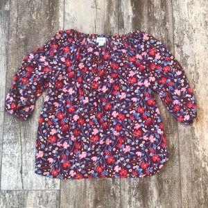 SIZE LARGE 10/12 OLD NAVY FLORAL MAROON RED BLOUSE